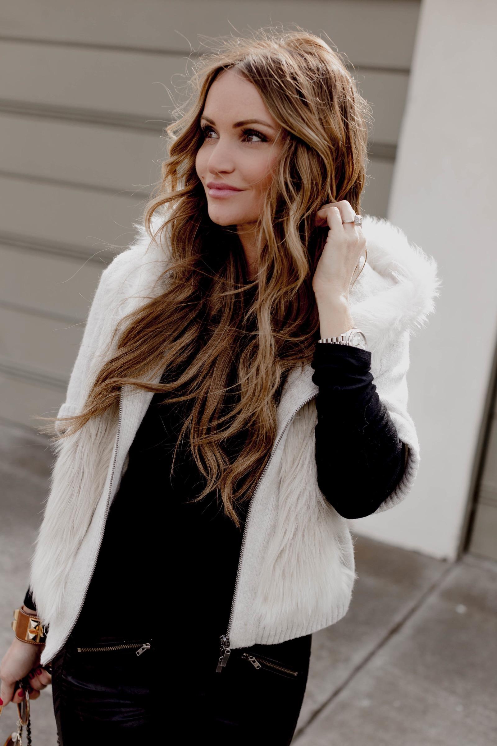 Hooded Faux Fur Sweater - #DKWFashion