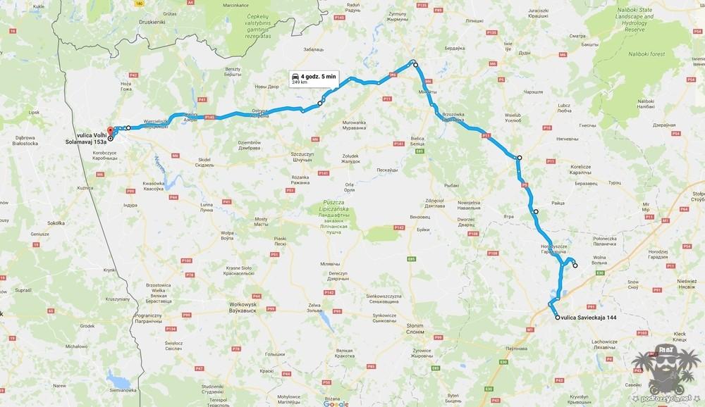 Podróż Życia, Białoruś motocyklem, mapa, dzień 3.