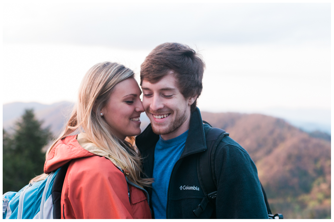 on-top-of-mountain-charlies-bunion-engagement-Jill and Daniel