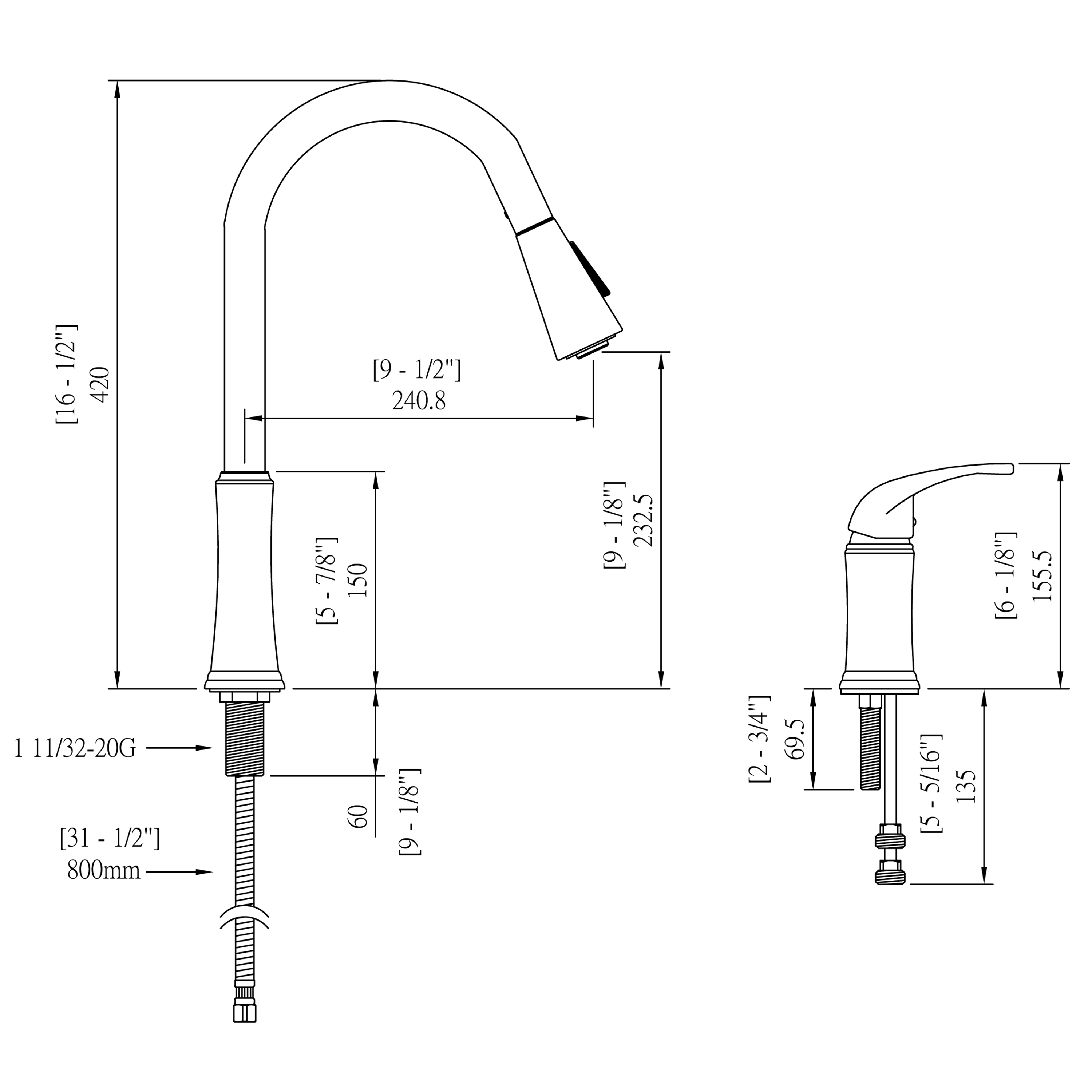 Contemporary Pull Down Spray Kitchen Sink Faucet Oil