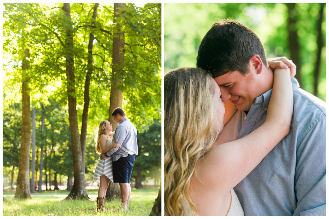 John and Casey Engagement Through the trees