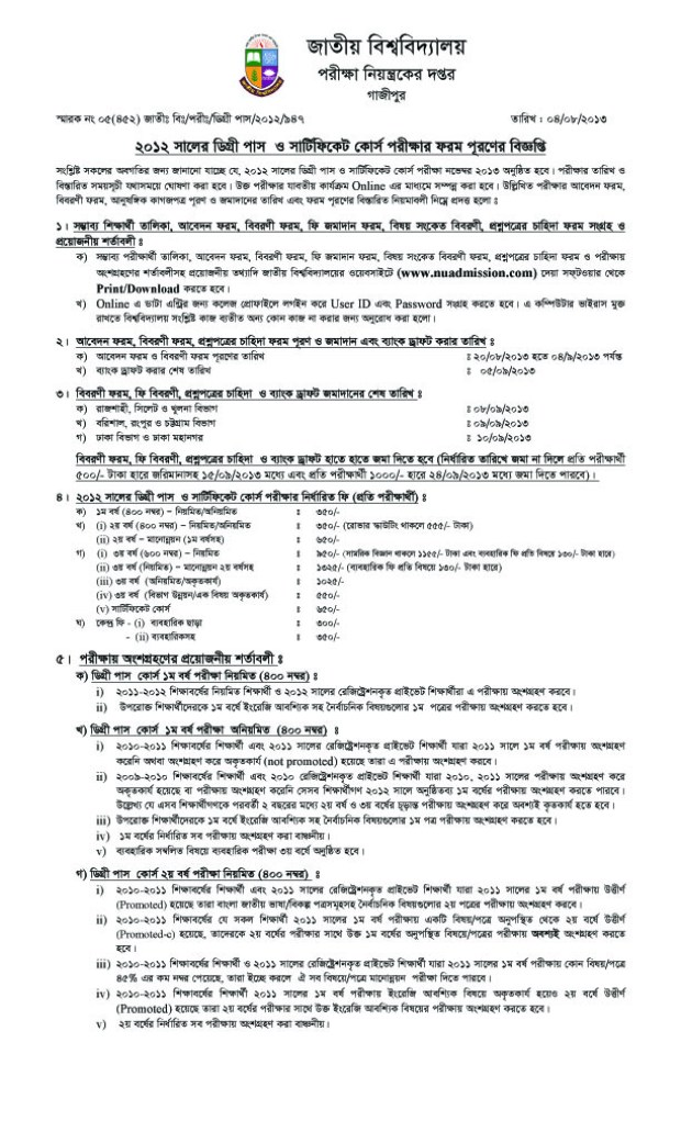 Form Fill-up notice for degree pass & certificate course examination-2012
