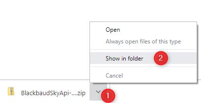 Show in folder