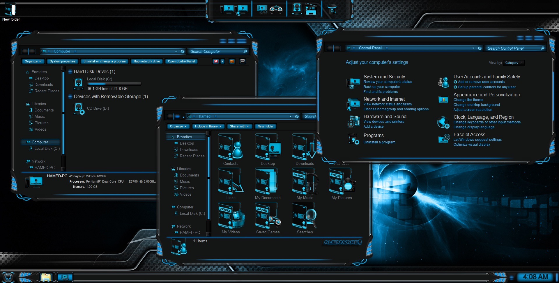 Dark neon skin pack for windows 7 [windows theme].