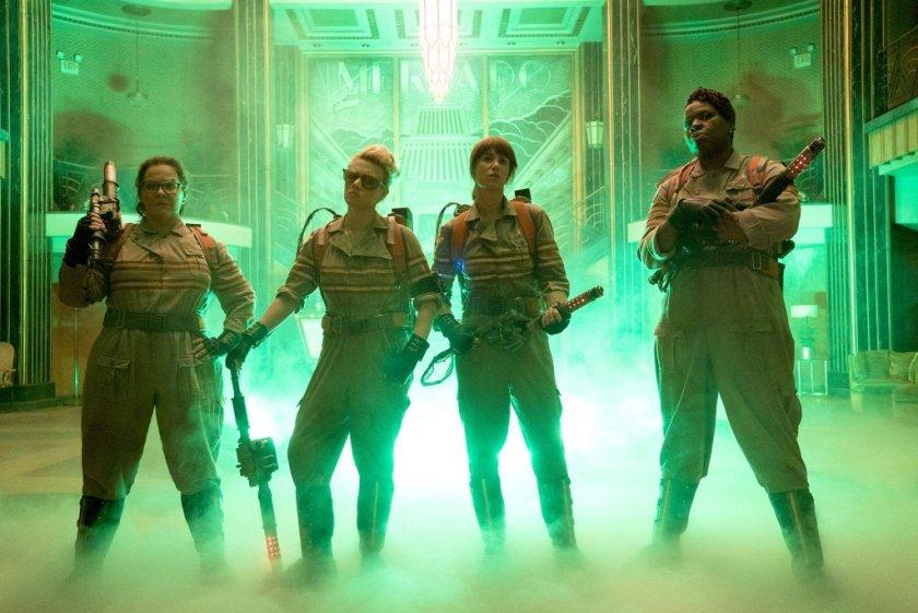 Melissa McCarthy, Kate McKinnon, Kristen Wiig, and Leslie Jones in GHOSTBUSTERS reboot