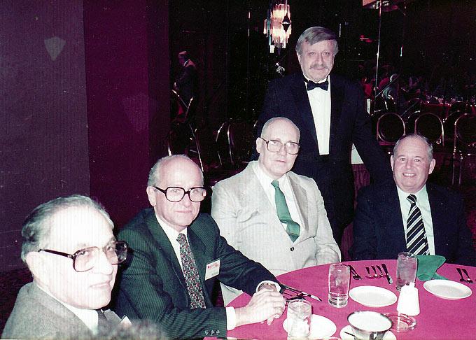 Herb Graff (standing) at one of the Syracuse Cinefests w-Samuel K. Rubin, Richard Gordon, William K. Everson, Alex Gordon