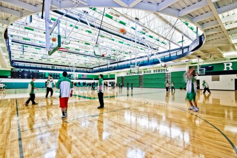 The expansion provides space for team practice and community adult athletic leagues before and after school hours.