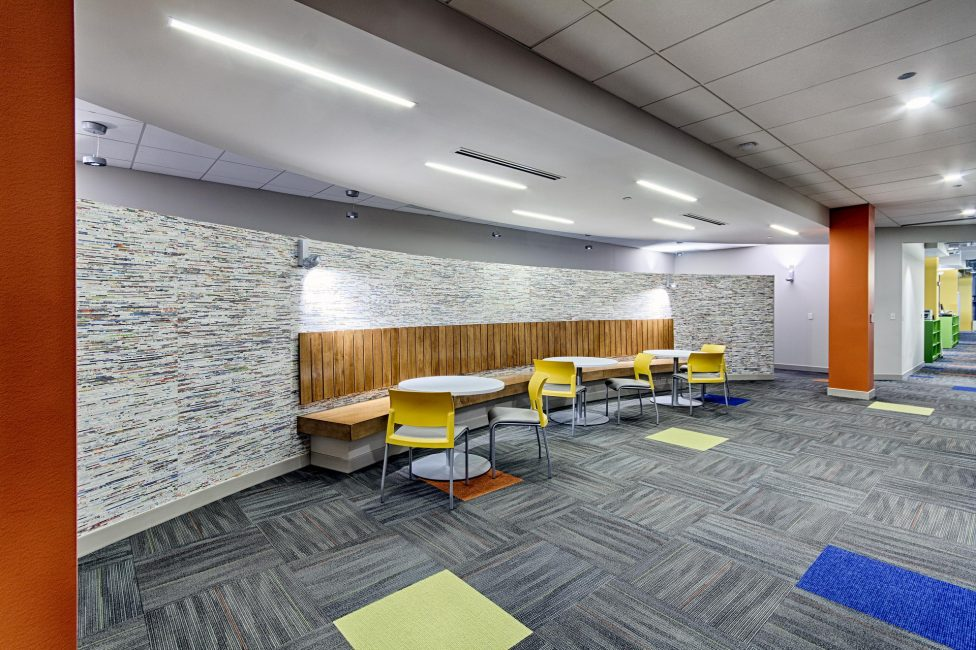 Break-out areas feature a lounge-style seating arrangement