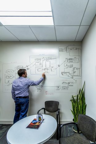 To empower brainstorming and planning teams, walls were strategically selected throughout the office to receive a writable paint finish.