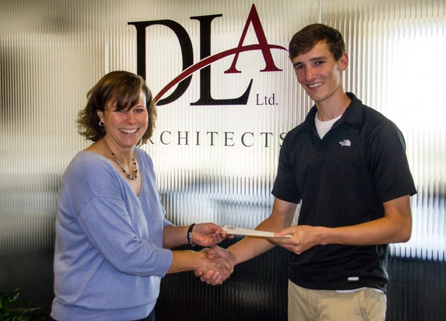 DLA Architects' Carrie Matlock presents scholarship to State Level Runner Up Michael Walt of Richards High School