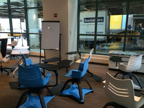The National showroom had some competition to Steelcase's 'Node' chair.
