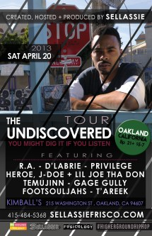 Sat 4/20 in Oakland - DLabrie live on Undiscivered Tour w/ Sellassie and more