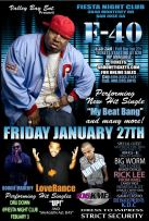 January 27 in San Jose(Club Fiesta) - E-40, LoveRance, Mayhem, DLabrie,YDMC, Boogie Madeoff