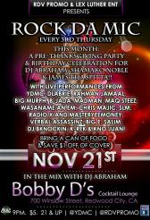THURS 11/21 Redwood City- Give Thanks & Bday party for James tha Spitta and Shamako at Bobby D's