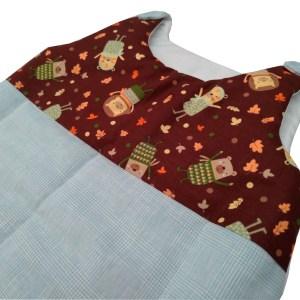 saquinho de dormir para bebês xadrez príncipe de gales verde água e detalhe em estampa divertida com tons de terra