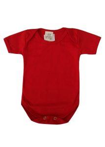 body infantil manga curta vermelho