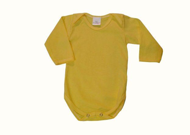 body bebê manga longa amarelo