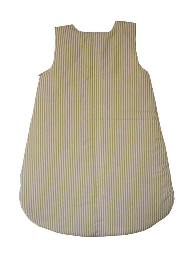 costas de saquinho de dormir infantil listrado bege