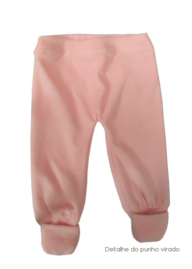 calça de bebê em plush rosa claro