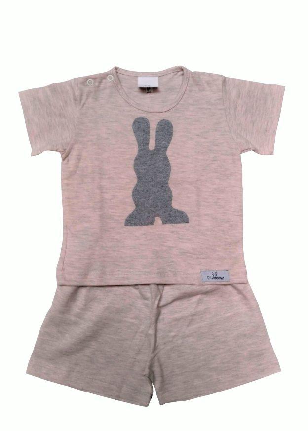 pijama bebê shorts e camiseta mescla rosa e cinza com aplicação tipo sombra em forma de coelho cinza