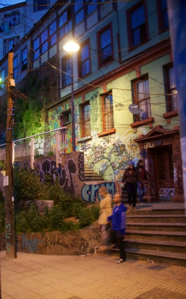 Night view of a favorite staircase up to a series of restaurants, churches and galleries