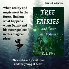 Tree Fairies and Their Short Stories book cover over a forest background and a fairy