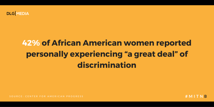 "42% of African American women reported personally experiencing ""a great deal"" of discrimination"