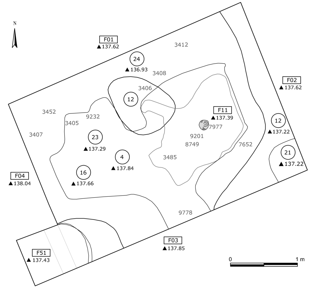 Figure 4 6 multi context plan of room 1 showing dsus encircled fsus within rectangles elevations with triangles and small finds without symbols