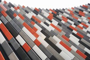 abstract image of orange, black, gray,and white lines