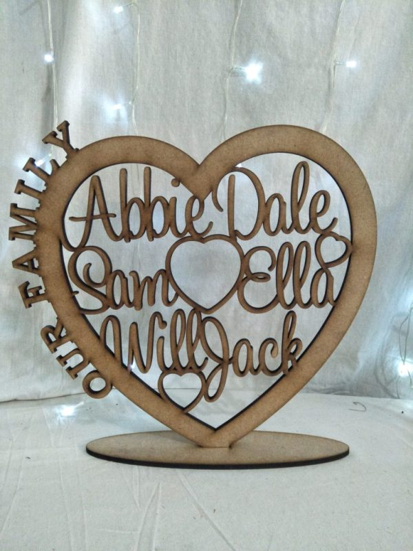 Personalised Wooden Family Heart3