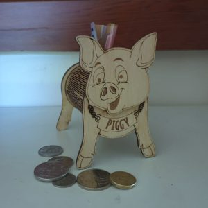 Wooden Piggy Bank Money Box