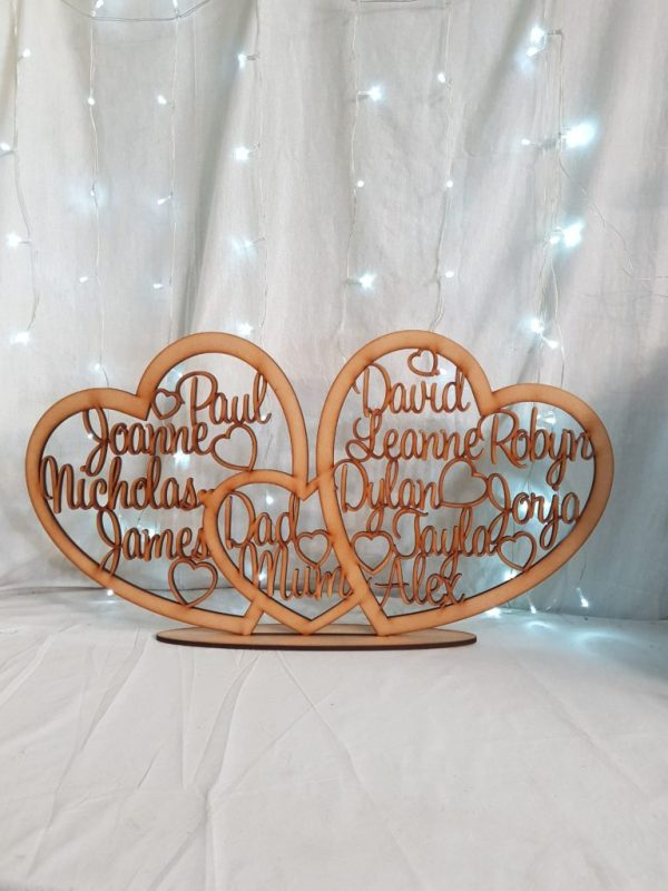 Personalised Triple Heart Family Plaque
