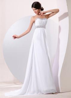 Empire-Linie Herzausschnitt Sweep Zug Chiffon Abendkleid mit Rüschen Perlen Pailletten (017014078)