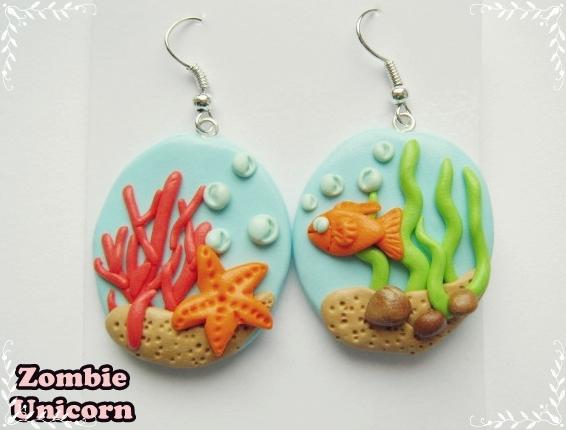 Sea-Inspired Earrings by Zombie Unicorn Jewelry