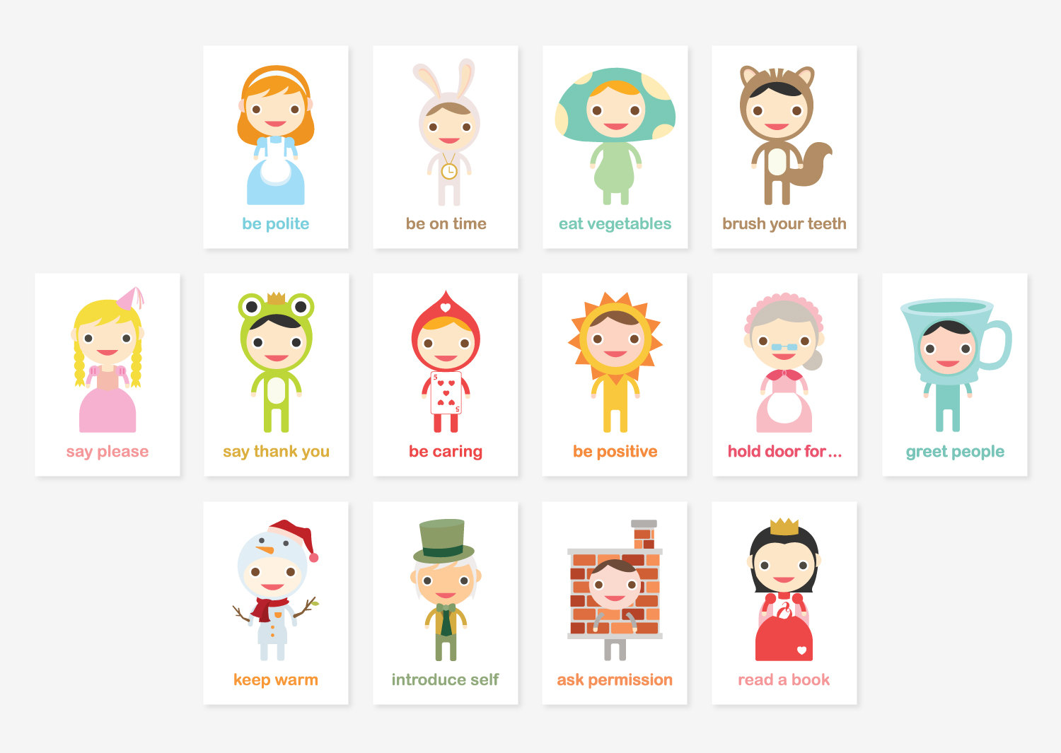 Tofufu Happy Manners Card Set B Of 14