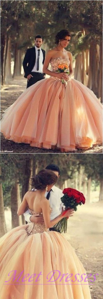 Blush Pink Tulle Wedding Dresses Ball Gown 2015 Sweetheart