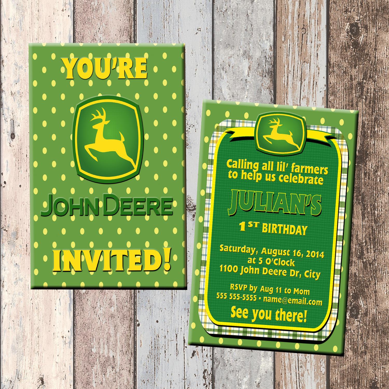 john deere tractor boy personalized birthday invitation 2 sided birthday card party invitation john deere party tractor party