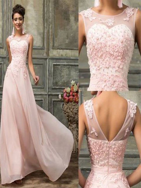 Long Prom DressPink Lace Bridesmaid Dresses Chiffon