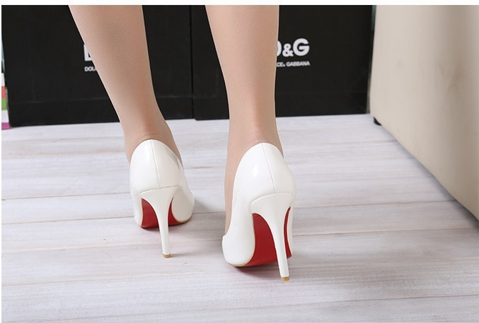 White Thin Heel Pointed Womens Pumps High Heels Red