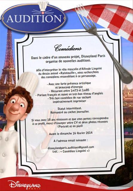 Disneyland Paris Ratatouille Linguini face character casting notice
