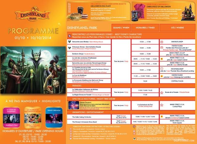Disney's Halloween Festival 2014 Programme Disneyland Paris