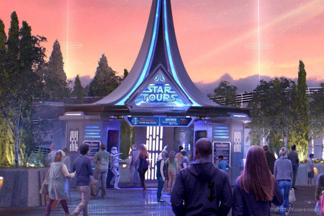 Star Tours: The Adventures Continue L'Aventure Continue Disneyland Paris exterior artwork rendering night