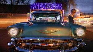Banner -- Lukas with the 1957 Chevrolet at Bambino's Kebab, Ashburton.