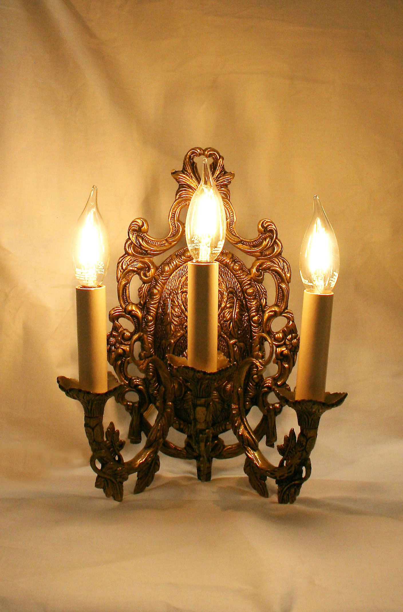 Pair of Cast Brass Victorian Style Wall Sconces w/ Foliate ... on Victorian Wall Sconces id=55946