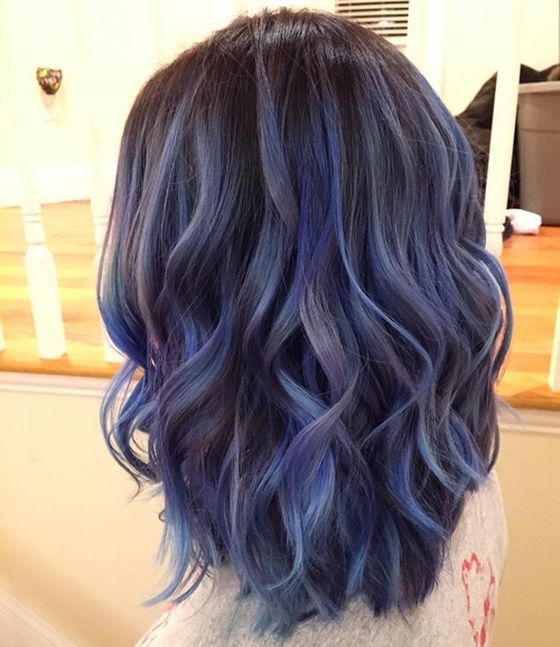 Синие пряди на черных волосах (30 фото) - Для Роста Волос