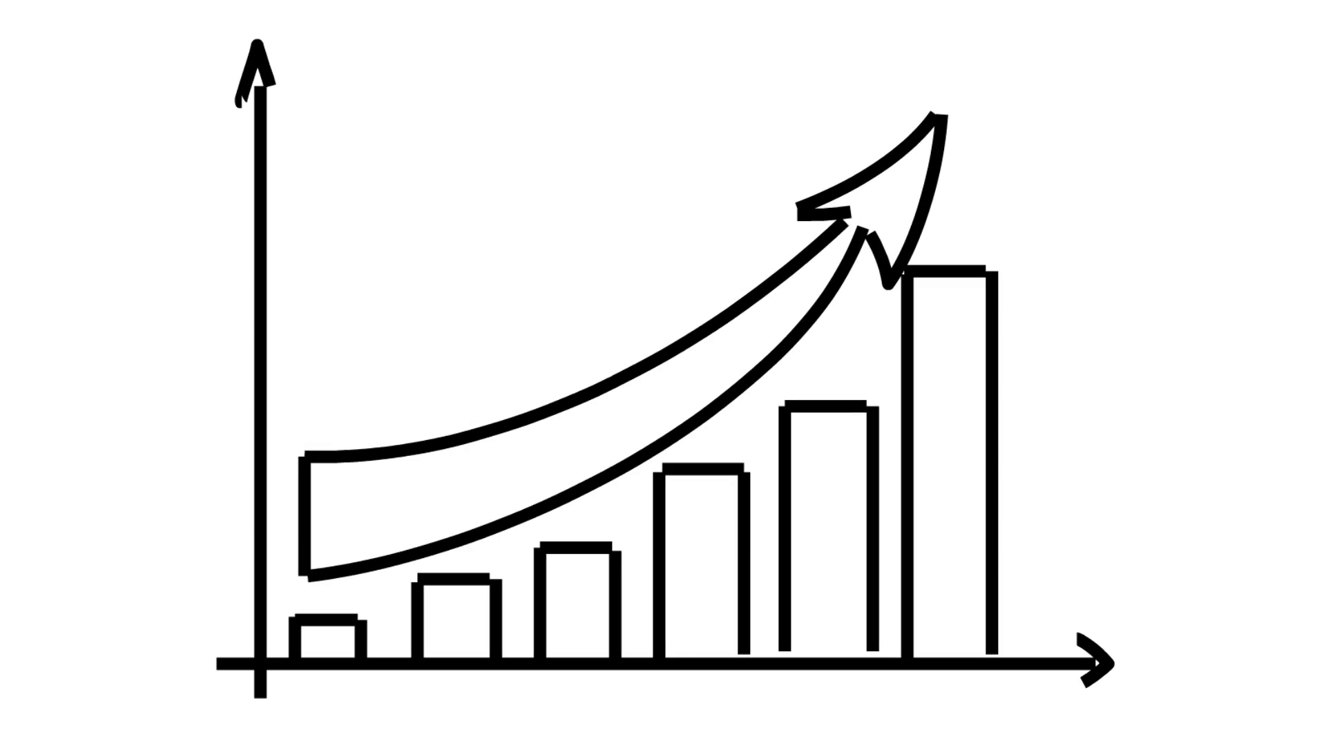 Bar Graph Arrow Going Up Line Drawing Illustration