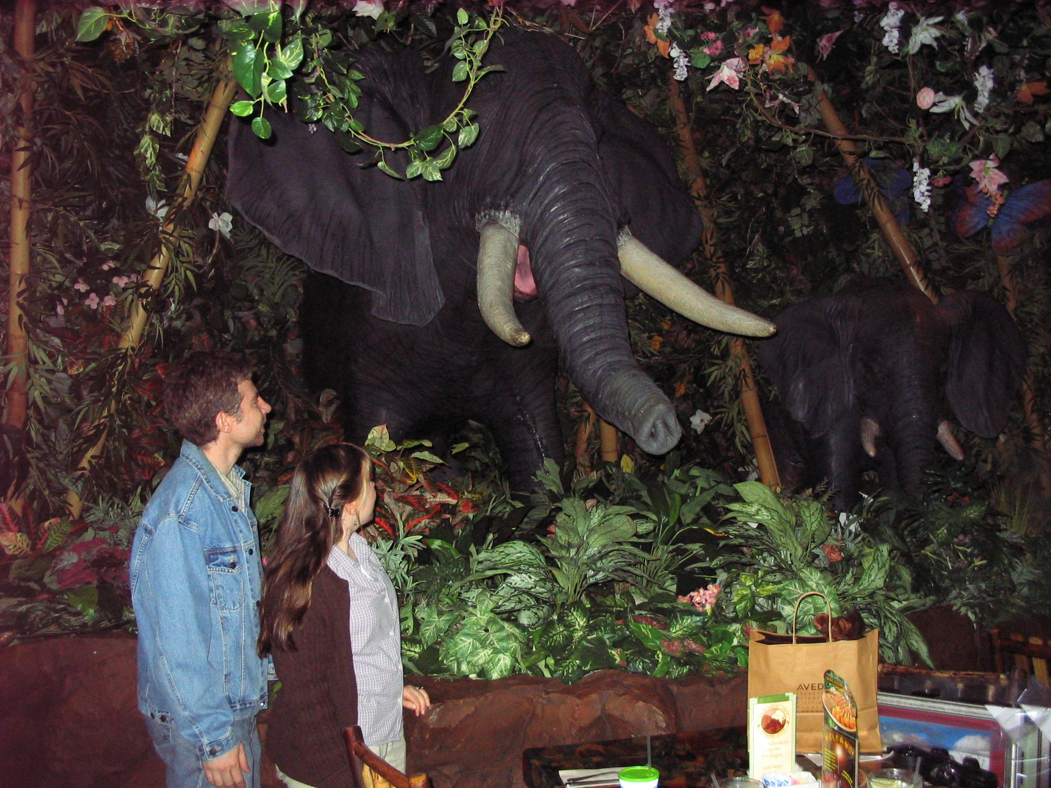 Dave&Bridgette with animatronic elephant
