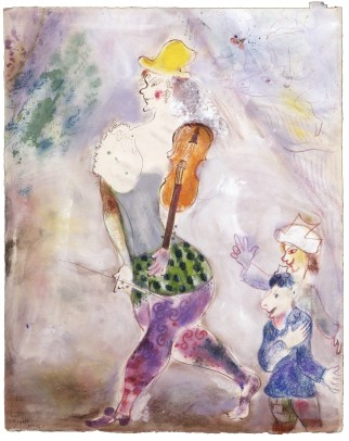 Marc Chagall, A Clown Playing the Violin (Clown jouant au violon), 1941-1942, Private collection