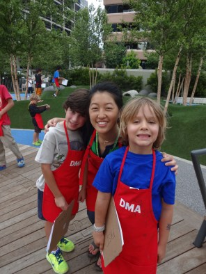 Sharon with campers at Klyde Warren Park.