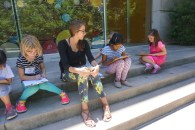 Clare and campers take a sketching break at lunch.
